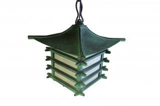 和風鋳物吊り灯篭  銅緑色 井桁