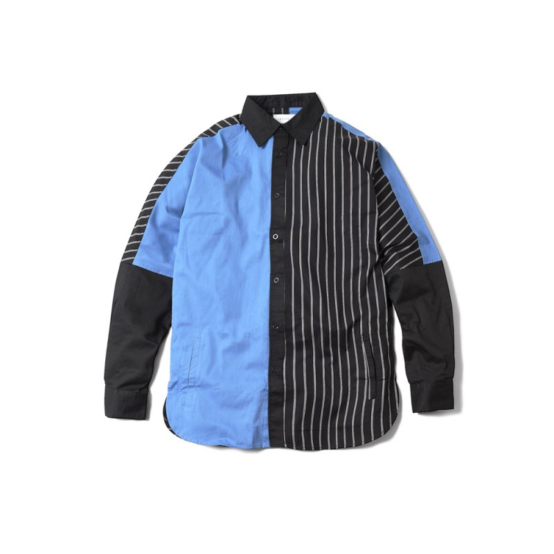 "【 30%OFF 】""PERFECT DARK II"" Long Shirt Black x Blue"