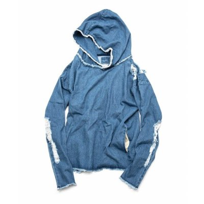 【 30%OFF 】OVER(ALL) X QALB DENIM HOODIE INDIGO(LIGHT BLUE)
