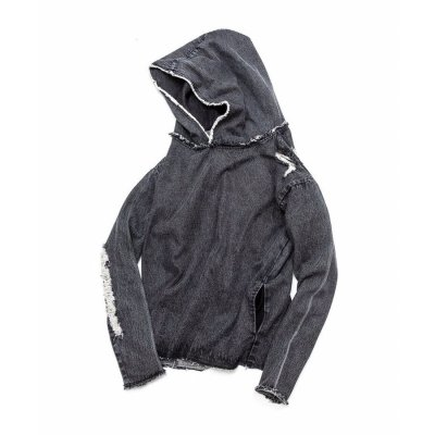 【 30%OFF 】OVER(ALL) X QALB DENIM HOODIE BLACK