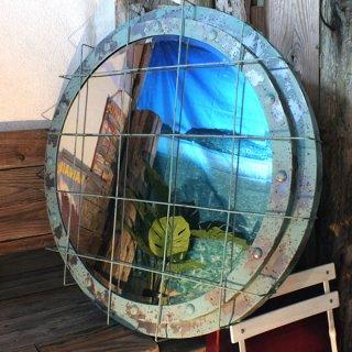 【同梱不可】マリンインテリア 舷窓型鏡 ミラー L Verdigris Porthole large Mirror