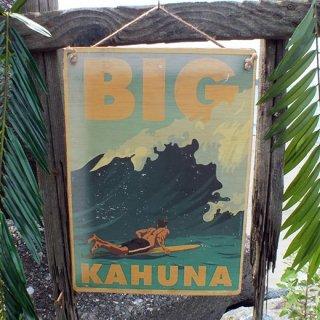 ハワイアンヴィンテージピクチャー ウッドプラーク(木製看板) Hawaii BIG KAHUNA