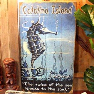 【同梱不可】ヴィンテージウッド看板 タツノオトシゴ Seahorse