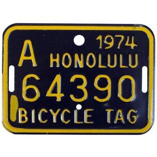 ハワイ自転車用ナンバープレートBK 70s Hawaii bicycle tag