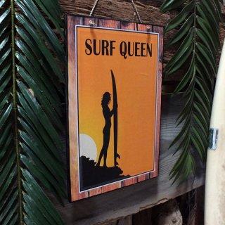 ハワイアンピクチャーウッドプラーク(木製看板)サーフクイーン SURF QUEEN