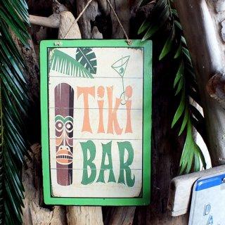 ハワイアンピクチャーウッドプラーク(木製看板)ティキバー TIKI BAR