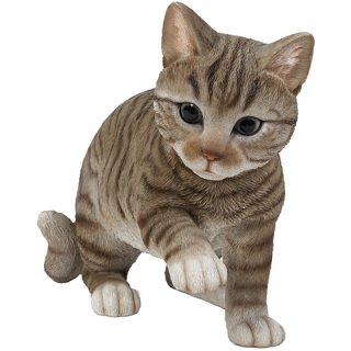 リアルキャット トラネコ 子猫の置物/オブジェ Realistic Grey Tabby Cat Statue