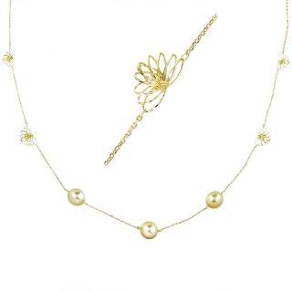 [ヴィバーチェ] 18K YG 白蝶真珠ネックレス