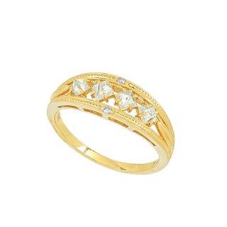 18K YG ラフダイヤモンド 4石ミルグレインリング