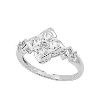 18K WG モダン フラワー型 ラフダイヤモンドデザインリング