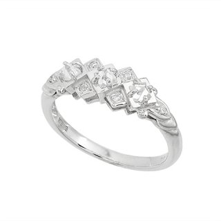 18K WG 3石横ライン ラフダイヤモンドデザインリング