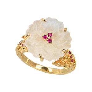 18K YG 水晶の花と蝶デザインリング