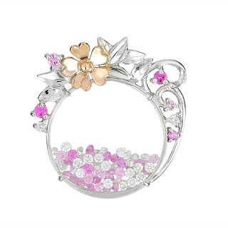 [チェリー・ブロッサム] 18K 2トーン ダイヤモンド&ピンクサファイヤ ペンダントヘッド