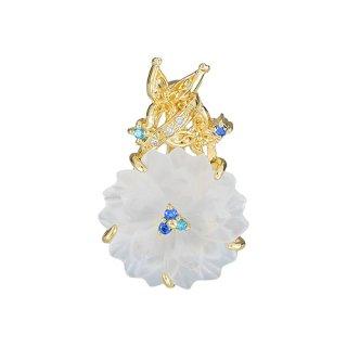18K YG 水晶の花と蝶&トパーズ デザインペンダントヘッド