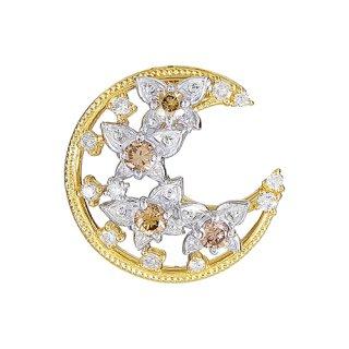 18K 2トーン ダイヤモンド バタフライムーンペンダントヘッド
