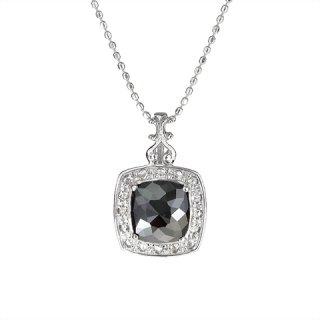 18K WG ブラックダイヤモンド デザインペンダント