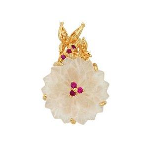 18K YG 水晶の花と蝶デザインペンダントヘッド