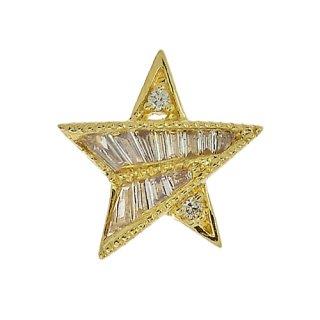 18K YG シャンパンダイヤモンド スターペンダントヘッド