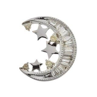 18K WG シャンパンカラーダイヤモンド ムーン ペンダントヘッド