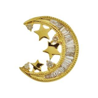 18K YG シャンパンカラーダイヤモンド ムーン ペンダントヘッド