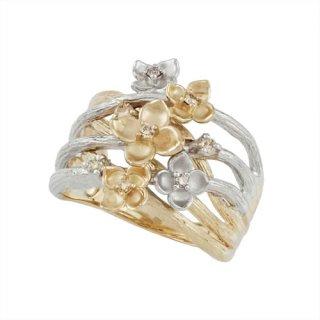 18K 2トーン シャンパンカラーダイヤモンド フラワーデザインリング