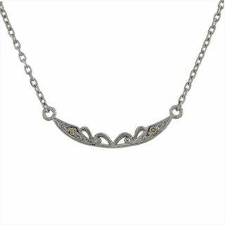 18K WG シャンパンカラーダイヤモンド デザインネックレス