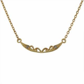 18K YG シャンパンカラーダイヤモンド デザインネックレス