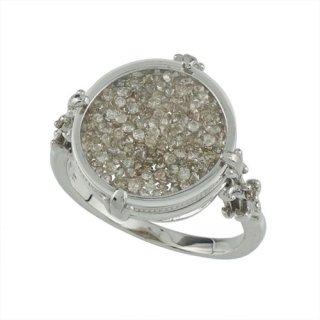 18K WG シャンパンカラーダイヤモンド リング 計1ctUP