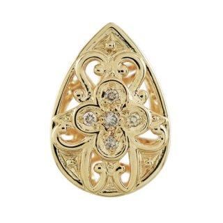 18K YG シャンパンカラーダイヤモンド デザインペンダントヘッド