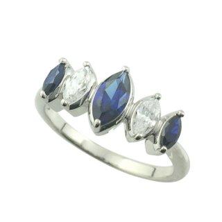 アミアージュ シルバー925 シンセティックサファイヤ デザインリング