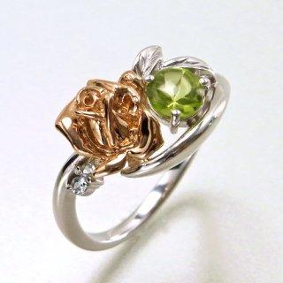 K18 薔薇のペリドットデザインリング