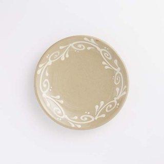 やちむん 育陶園 5寸皿(白イッチン)
