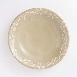 やちむん 育陶園 7寸皿(白イッチン)