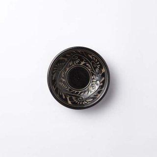 やちむん 育陶園 3.5寸皿(唐草 黒)
