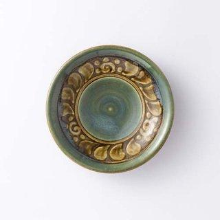 やちむん 高江洲陶器所 5寸皿(緑イッチン)