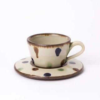 やちむん エドメ陶房 コーヒーカップ&ソーサー(水玉)