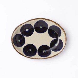 やちむん エドメ陶器 オーバル皿(丸紋コバルト)