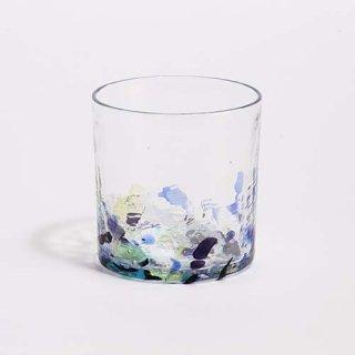 琉球ガラス GlassArt青い風 アクアリーフ 広口ロックグラス