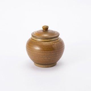 小鹿田焼 蓋付き壺(飴)