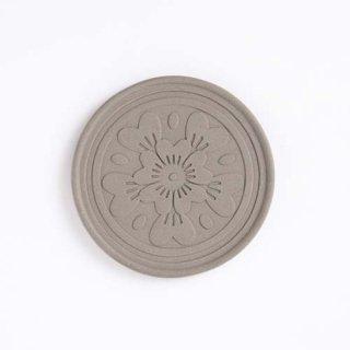 赤瓦コースター 花瓦菊紋 灰
