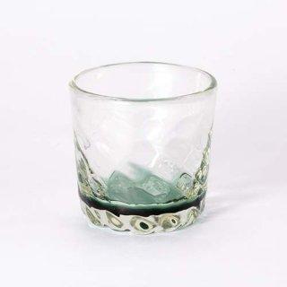 琉球ガラス ガラス工房清天 底色みなもロックグラス グリーン