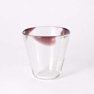 琉球ガラス 工房彩砂 三つ玉グラス 中紫