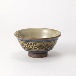 やちむん 高江洲陶器所 4寸マカイ(青釉イッチン)
