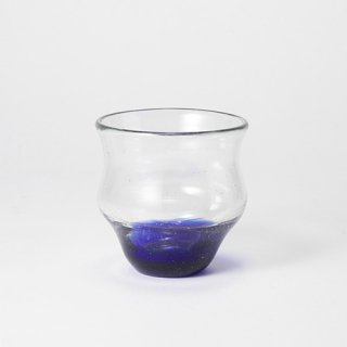 琉球ガラス 吹きガラス工房 彩砂 くびれグラス(底青)