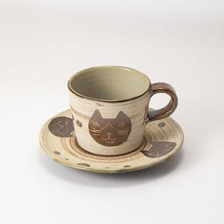 やちむん 工房o-gusuya ハチワレネコ コーヒーカップ&ソーサー 02