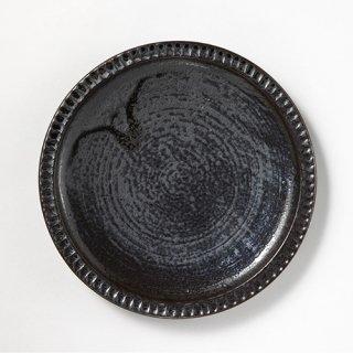 やちむん 幸陶器 しのぎ8寸皿 黒