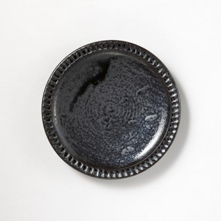やちむん 幸陶器 しのぎ6寸皿 黒