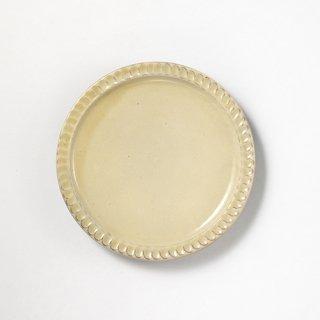 やちむん 幸陶器 しのぎ6寸皿 白