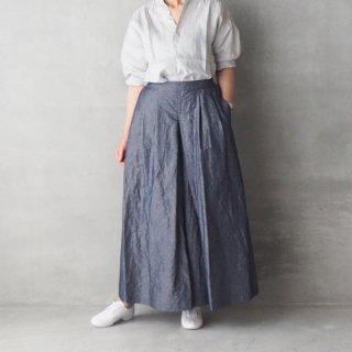 Le minor<br>コットンリネンダンガリー マキシ丈ガウチョパンツ