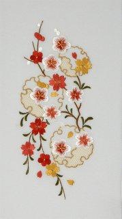白羽二重地・雪輪に梅桜刺繍